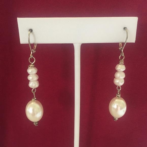 Oval Pearl w/ Freshwater Pearls earrings, …